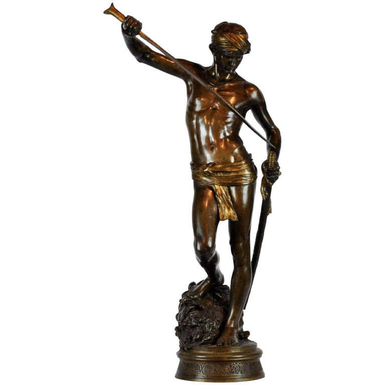 Large Antonin Mercie Bronze of David & Slain Golia For Sale