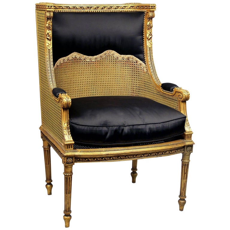 Very Fine Late 19th Century Louis XVI Style Carved Giltwood Bergere