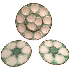 Set of Majolica Long Champ Nine Oyster Plates and a Platter, 19th Century