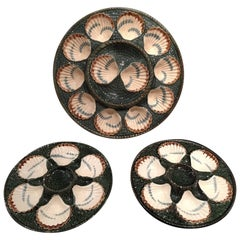 Set of Majolica Long Champ Six Oyster Plates and a Platter, 19th Century