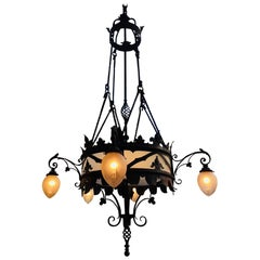 Large set of French Gothic Wrought Iron Chandeliers