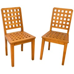 Pair of Satinwood Lattice Design Side Chairs