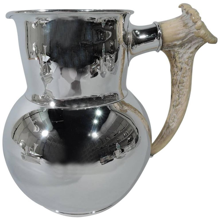 Antique Shreve Sterling Silver Water Pitcher with Big Game Antler Handle