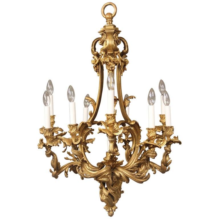 Nice Quality Late 19th Century Gilt Bronze Ten-Light Chandelier