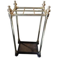 French Polished Brass and Iron Umbrella Stand, 19th Century