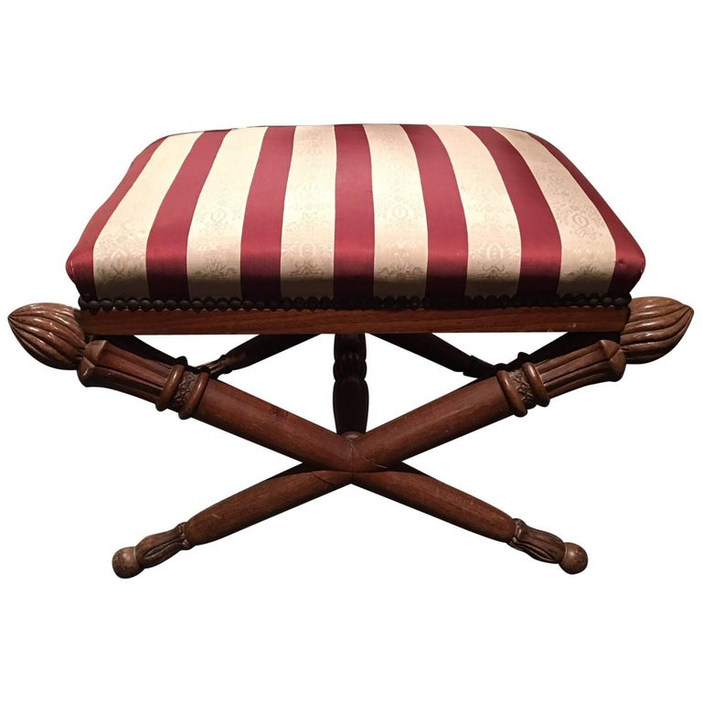 French Louis XVI Style Upholstered Stool with Torchiere Finials, 19th Century