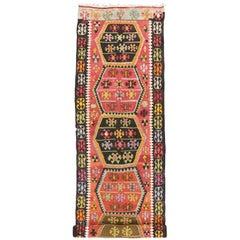 Boho Chic Vintage Turkish Kilim Tribal Runner, Extra Long Hallway Runner