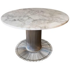 Italian Marble Table and Chromed Metal Base, circa 1970