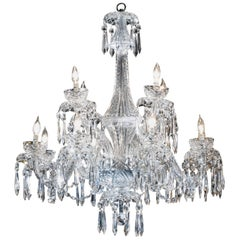 Waterford Chandelier, Cut Crystals, 12 Lights