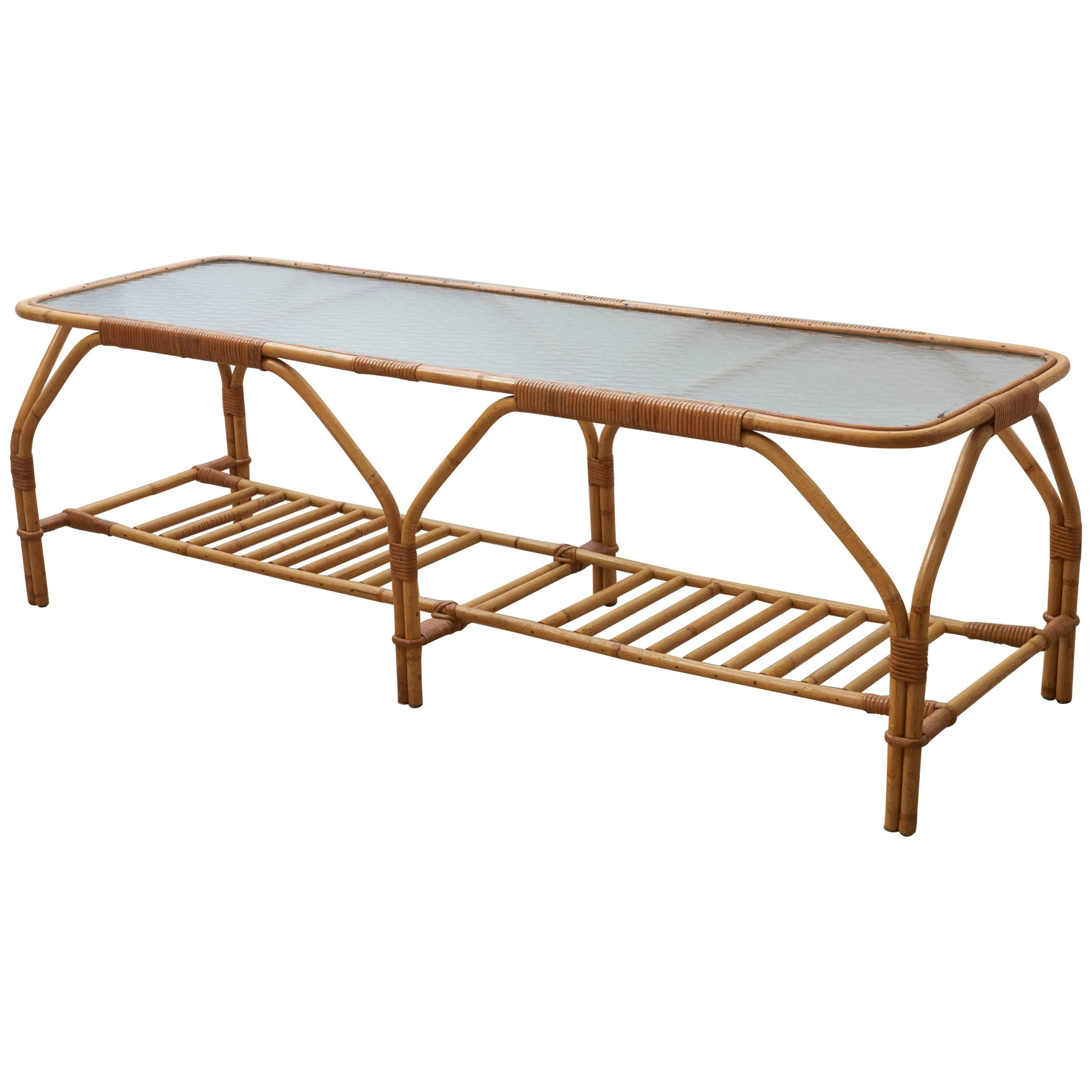 Large Bamboo And Frosted Glass Rectangular Coffee Table By Viggo Boesen,  1950s For Sale