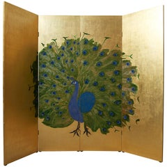 Japanese Folding Screen in Wood Decorated with a Peacock in Gold and Blue,1980s