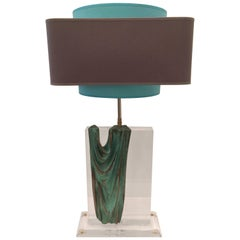 French, 1970s Bronze and Lucite Table Lamp