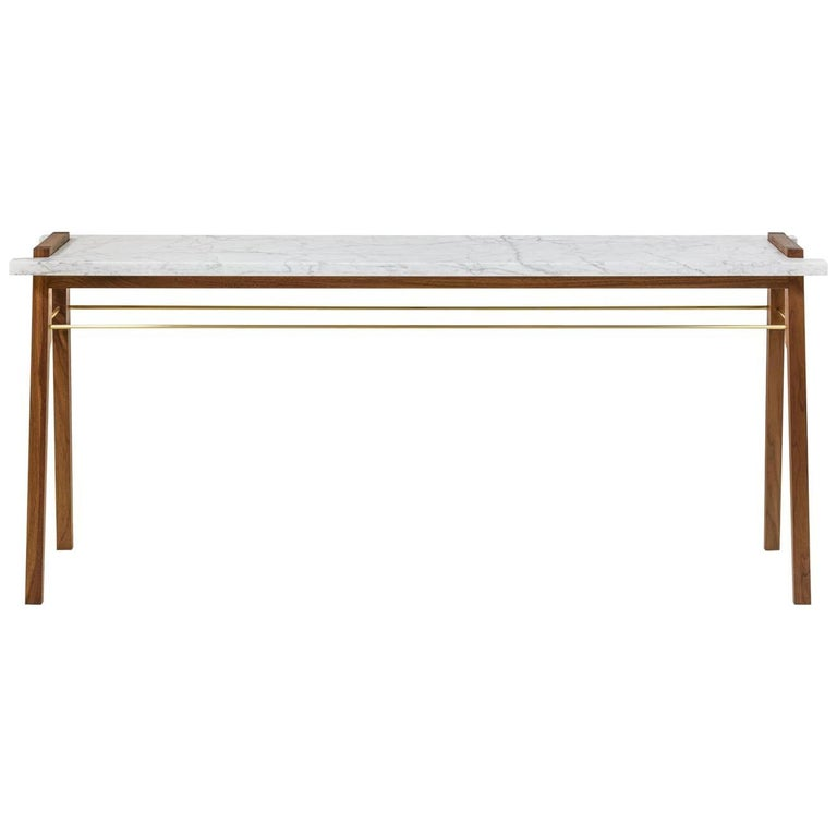 Riddick Console or Sofa Table with Marble Top on Walnut and Brass Base