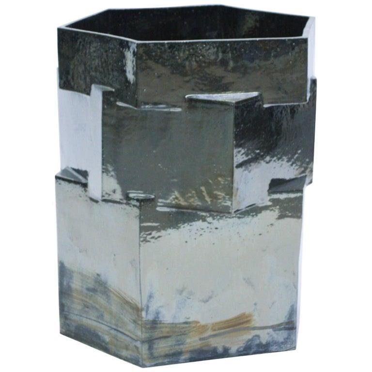 Extra Large Contemporary Ceramic Palladium Hexagon Planter