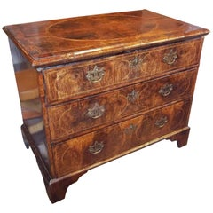 English George I Inlaid Walnut Burl Chest of Drawers