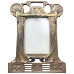 Alfons Mucha Style Art Nouveau Bronze Table Picture Frame with Laurel Theme