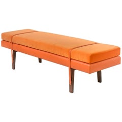 Lennox Bench, Walnut Legs, Orange Velvet, Leather Seat with Belt Detail, COM/COL