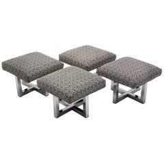 Milo Baughman Style Bench Stools Polished Aluminum Upholstered