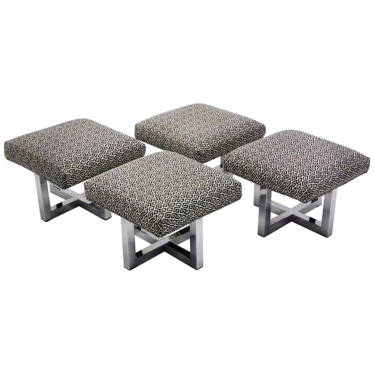 Milo Baughman Style Bench Stools Polished Aluminum Upholstered For Sale