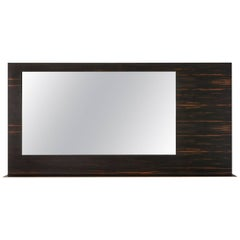 Pernell Mirror with Shelf, Sheet of Solid Bronze Veneered in African Ebony