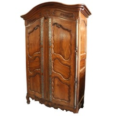 Large 19th Century French Louis XV Carved Walnut Armoire