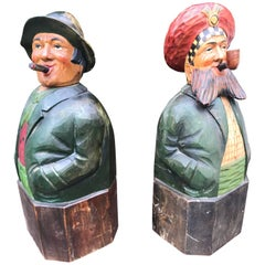1930s Pair of Painted and Hand-Carved Wood Tiplers Sculpture Decanters / Bottles