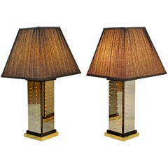 Mid-Century Modern Italian Brass Smoked Glass Liteline Table Lamps, 1970s