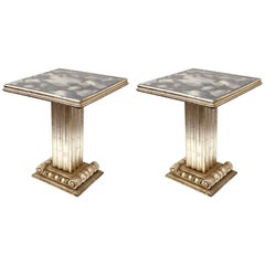 French Art Deco Silver Leaf Pedestal End Tables with Gold Veined Mirror Tops