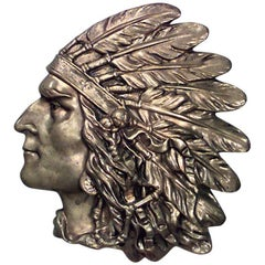 Bronze Wall Plaque of Indian Head in Profile 'First Quarter of the 20th Century'
