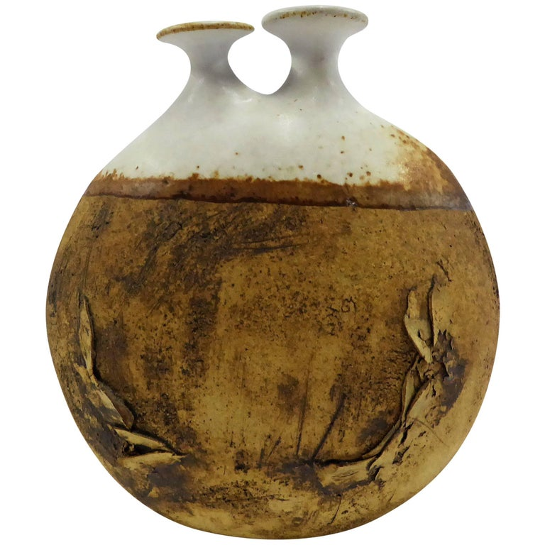 1960s Warren Hullow Art Pottery Vase Stoneware Weed Pot Twig Vase For Sale