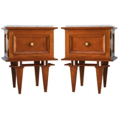 Pair of Side Cabinets Midcentury Nightstands Bedside Tables French, circa 1950