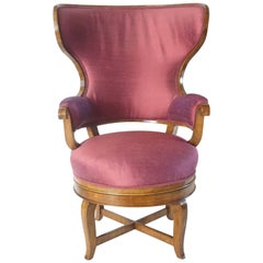 Unusual Biedermeier Fauteuil de Bureau Swivel Seat Wingback Chair, circa 1830