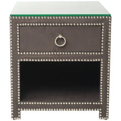 Hollywood Regency Upholstered Nightstand with Nickel Studs