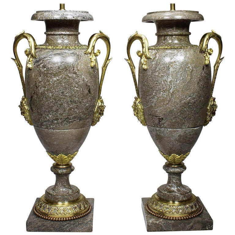Pair of French, 19th Century Neoclassical Style Gilt Bronze and Marble Urn Lamps