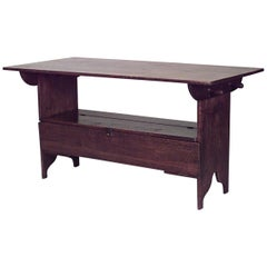 American Country 18th-19th Century' Pine Adjustable Table/Bench
