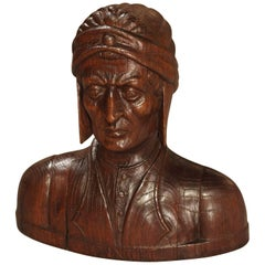 Antique French Carved Oak Bust of Dante, 19th Century