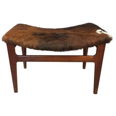 Walnut Wood and Cowhide Seat Footstool, 1960s