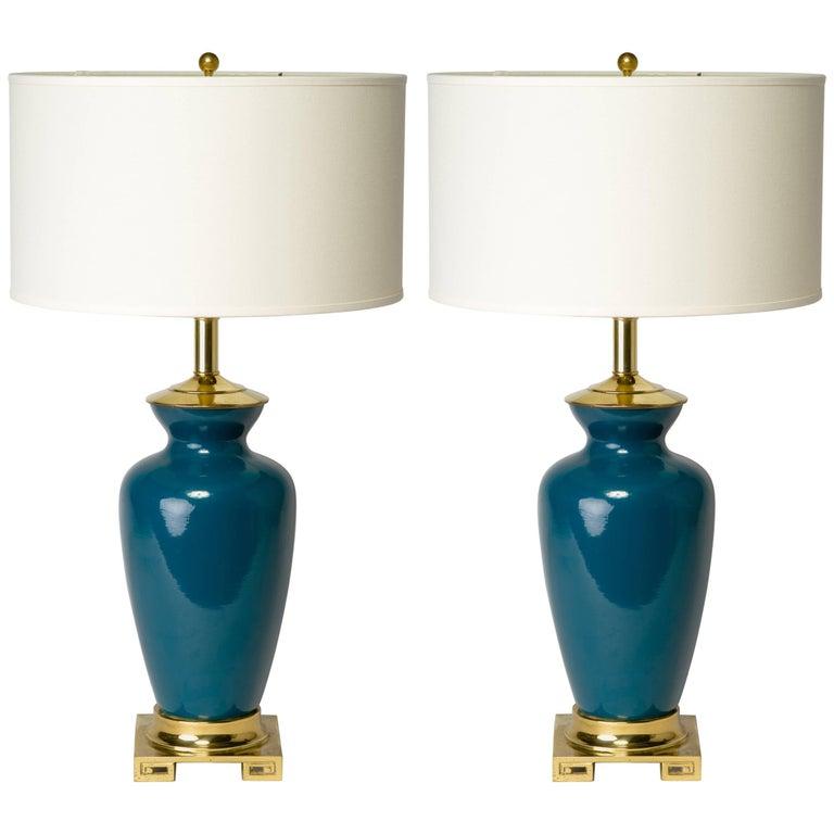 Pair of Hollywood Regency Teal Lamps with Greek Key Design