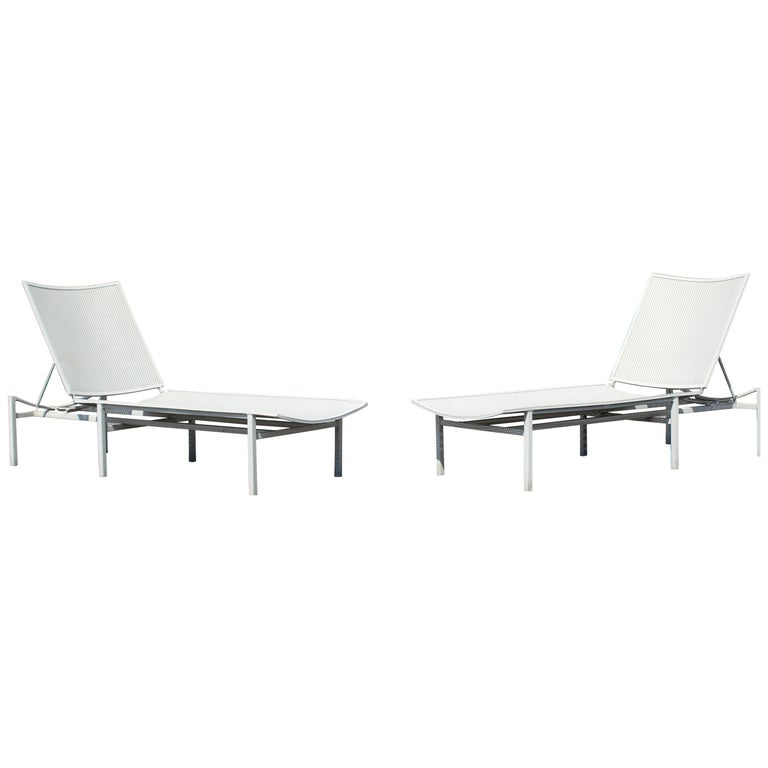 Mid-Century Modern Brown Jordan Pair of Outdoor Patio Chaise Longue Chairs 1960s