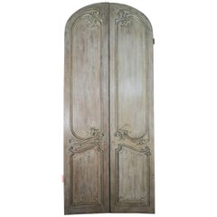 Monumental Pair of French Carved Painted Doors, circa 1900s