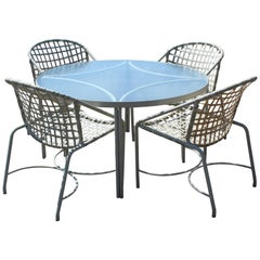Mid-Century Modern Brown Jordan Kantan Patio Dinette Set Table Four Chairs 1960s