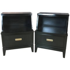 Mainline by Hooker Black Lacquered Nightstands, Pair