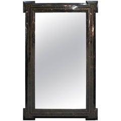 Maitland-Smith Mid-Century Modern Tessellated Black Wall Mirror