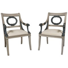 Pair of Late 19th Century Carved and Painted Wood Classical Style Open Armchairs