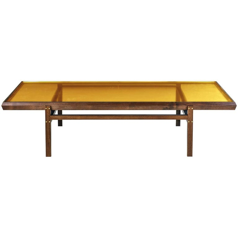 Pintor Coffee Table, Walnut Frame with Brass Inlay, Yellow Glass Top For Sale