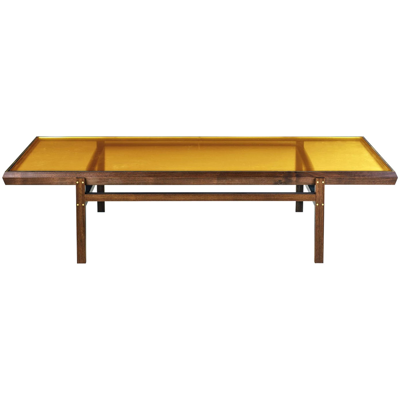 Pintor Coffee Table, Walnut Frame with Brass Inlay, Yellow Glass Top