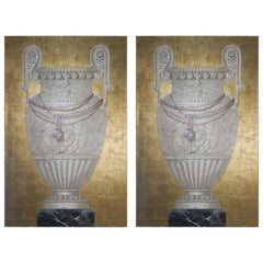 Pair of Monumental Painted and Gold Leaf Paintings, 20th Century