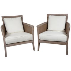 Pair of Midcentury Limed Oak French Club Chairs