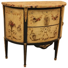 French Louis XVI Style Hand-Painted Marble Top Commode