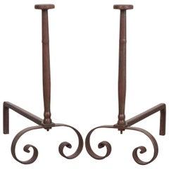Pair of French 19th Century Iron Andirons